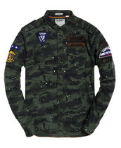 Superdry Button-down Camouflage Street Style Long Sleeves Shirts