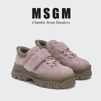 Platform Round Toe Casual Style Street Style Leather