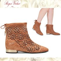 Roger Vivier Flower Patterns Square Toe Casual Style Suede Block Heels
