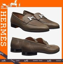 ca43854b83a HERMES Loafers Plain Leather V Tips Loafers   Slip-ons