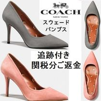 Coach Suede Plain Pin Heels Elegant Style