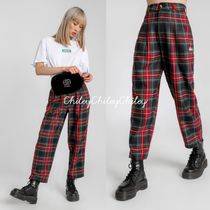 STUSSY Printed Pants Tartan Casual Style Street Style Cotton Medium
