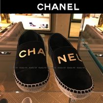 CHANEL Platform Round Toe Casual Style Velvet Plain Slip-On Shoes