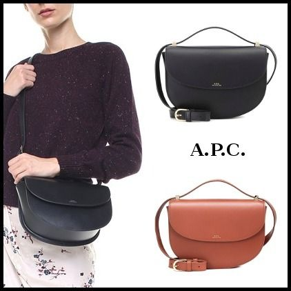 Calfskin 2WAY Plain Elegant Style Shoulder Bags