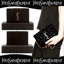 Saint Laurent KATE Calfskin Chain Plain With Jewels Elegant Style Shoulder Bags