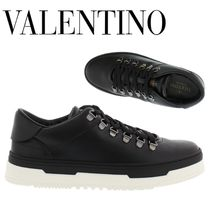 VALENTINO Plain Toe Mountain Boots Plain Leather Outdoor Boots