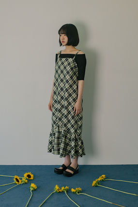 Other Check Patterns Casual Style Sleeveless Street Style