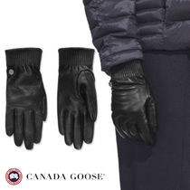 CANADA GOOSE Plain Leather Elegant Style Gloves Gloves