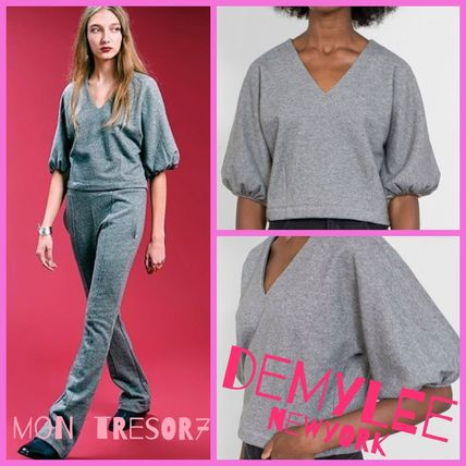 Short Casual Style V-Neck Plain Cotton Puff Sleeves Cropped