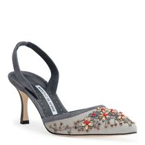 Manolo Blahnik Flower Patterns Suede Blended Fabrics With Jewels