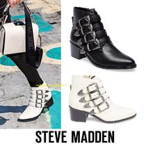 Steve Madden Casual Style Plain Leather Chunky Heels