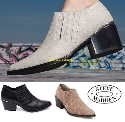 d6a09e54a74 ... Steve Madden Ankle   Booties Casual Style Street Style Plain Leather  Block Heels ...