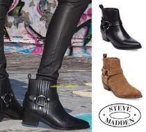 Steve Madden Casual Style Plain Leather Block Heels Ankle & Booties Boots
