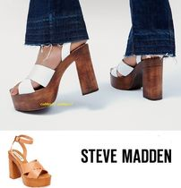 Steve Madden Open Toe Casual Style Blended Fabrics Plain Leather