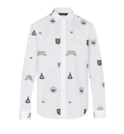 Louis Vuitton Shirts Unisex Street Style Long Sleeves Cotton Shirts 2