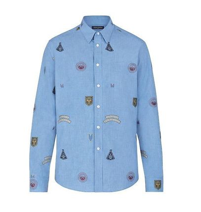 Louis Vuitton Shirts Unisex Street Style Long Sleeves Cotton Shirts 3