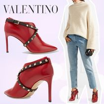 VALENTINO Studded Bi-color Plain Leather Pin Heels