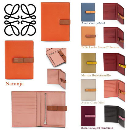 Calfskin Bi-color Plain Folding Wallets