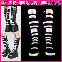 DOLLS KILL Casual Style Faux Fur Plain Wedge Boots