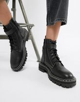 ASOS Round Toe Rubber Sole Casual Style Plain Leather Flat Boots