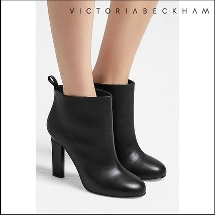 Plain Leather Party Style High Heel Boots