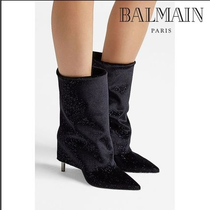 Leather Pin Heels Party Style High Heel Boots