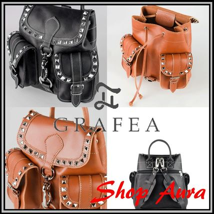 Casual Style Studded Leather Backpacks