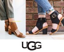 UGG Australia Open Toe Casual Style Plain Leather Heeled Sandals