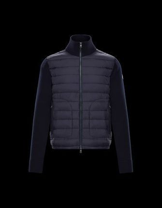 MONCLER Knits & Sweaters Wool Long Sleeves Plain Logos on the Sleeves