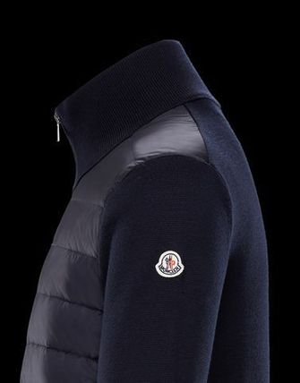 MONCLER Knits & Sweaters Wool Long Sleeves Plain Logos on the Sleeves 3