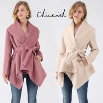 Chicwish Short Casual Style Wool Plain Wrap Coats