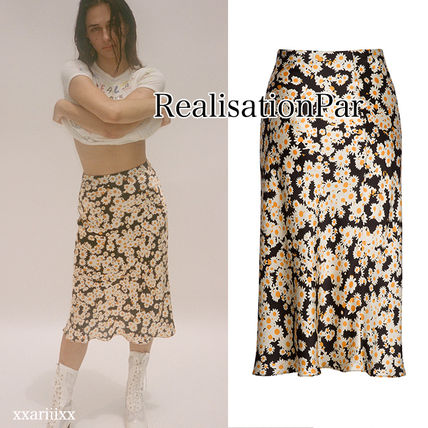 Pencil Skirts Flower Patterns Casual Style Silk Medium Midi