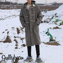 ASCLO Other Check Patterns Wool Street Style Long Duffle Coats