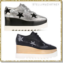 Stella McCartney ELYSE Star Square Toe Platform Lace-up Casual Style Faux Fur