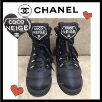 CHANEL SPORTS Lace-up Casual Style Blended Fabrics Plain Lace-up Boots