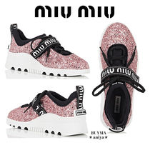 MiuMiu Rubber Sole Lace-up Casual Style Blended Fabrics