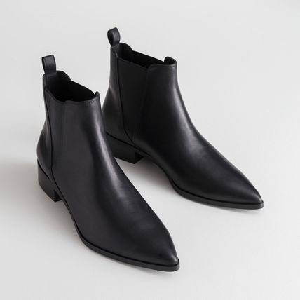 Casual Style Plain Leather Chelsea Boots