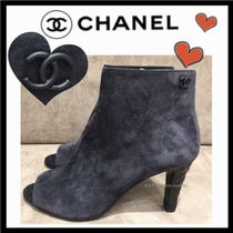 CHANEL ICON Open Toe Suede Plain Elegant Style High Heel Boots