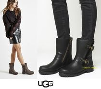 UGG Australia Round Toe Casual Style Plain Leather Block Heels Flat Boots