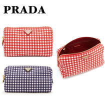 PRADA CANAPA Gingham Canvas Pouches & Cosmetic Bags