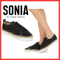 SONIA RYKIEL Platform Plain Toe Plain Leather Platform & Wedge Sneakers