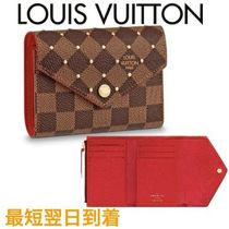 Louis Vuitton DAMIER Studded Bi-color Leather Folding Wallets