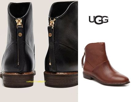UGG Australia Ankle & Booties Casual Style Street Style Plain Leather Block Heels