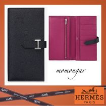 HERMES Bearn Unisex Plain Leather Long Wallets
