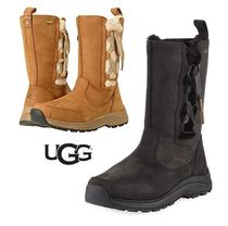 UGG Australia Round Toe Rubber Sole Casual Style Plain Leather Flat Boots