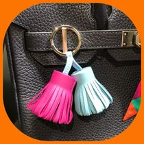 HERMES Plain Leather Fringes Keychains & Bag Charms