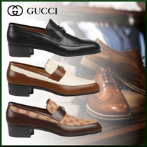 GUCCI Monogram Loafers Plain Leather Loafers & Slip-ons