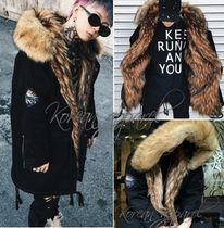 Unisex Faux Fur Street Style Bi-color Plain Long Oversized