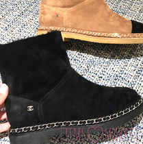 CHANEL Suede Bi-color Flat Boots