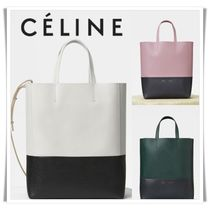 CELINE Calfskin 2WAY Bi-color Plain Elegant Style Handbags